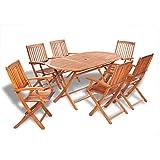 vidaXL Ensemble d'extérieur en bois table ovale et 6 chaises