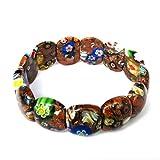 Ovalbuy Armband Perlen elastisch handgefertigt Blumenmuster Goldfluss