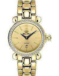 Glam Rock Vintage Damen-Armbanduhr 34mm Armband Gold beschichtetes Edelstahl + Gehäuse Batterie GR28053DS