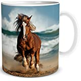 TRIOSK Tasse Pferd Maritim, Gutes Geschenk für Frauen Mädchen Pferdefreunde, Weiß Blau Bunt, 300 ml