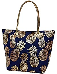 LD Bags Golden Pineapple Large Top Handle Tote Bags With Gold Accents