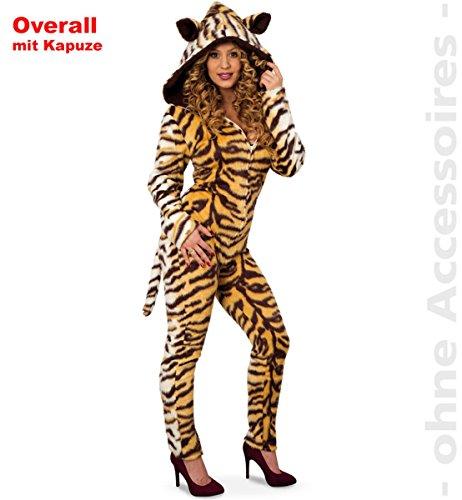 FRIES Damen Kostüm Tiger Overall mit Kapuze Karneval Fasching Gr.38