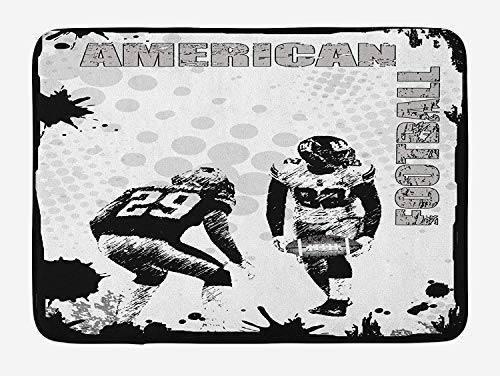tgyew Sports Bath Mat, Grungy American Football Image International Team World Cup Kick Play Speed Victory, Plush Bathroom Decor Mat with Non Slip Backing, 23.6 W X 15.7 W Inches, Black White Evergreen Cup