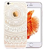 iPhone 6S Case,3H iPhone 6/6S Case HD Pattern Elastic Translucent Silicone Shock-Absorption Soft Gel TPU Bumper Back Cover Skin Protective Case for iPhone 6/6S 4.7 Inch(White Tribal Mandala)