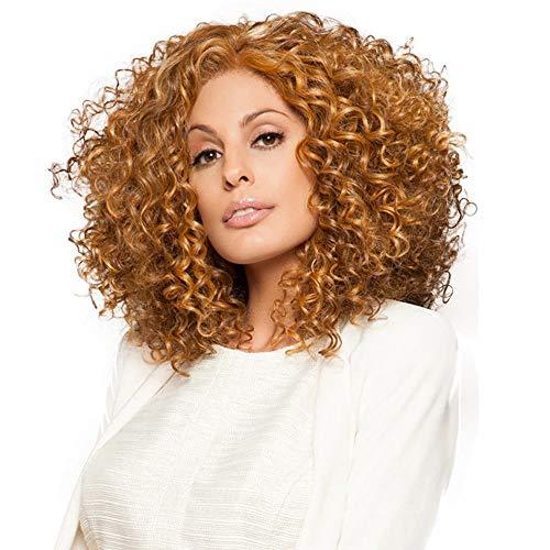 Perücken YIGEYI Langes lockiges Haar Dauerwelle Hohe Qualität Natürliche Flauschige Frauen Sexy Locken Cosplay Halloween Party Haarteile (Farbe : Gold)