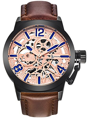 Alienwork Herren Damen mechanische Automatik-Uhr schwarz mit Lederarmband Rose-Gold Skelett