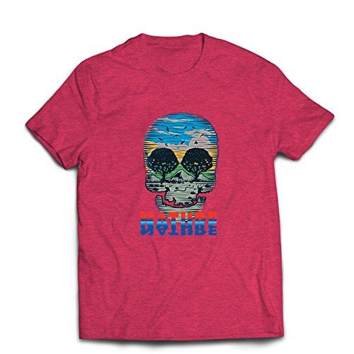 Männer T-Shirt der Natur-Schädel - retten Sie den Planeten, stützen Sie wild lebende Tiere (Large Heidekraut Rot Mehrfarben)