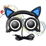 Lecc Cat Ear Headphones Auriculares estéreo de 3.5mm con Orejas Brillantes para niños Plegable Rotar Ear Stereo Headphone para niñas Cosplay Compatible con iPhone Android,B