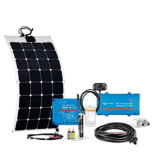 Offgridtec© mComfort VeCore 110W SPR-Flex 12V Wohnwagen Solaranlage Komplettsystem mit MPPT Regler und 300W Sinuswechselrichter 009740