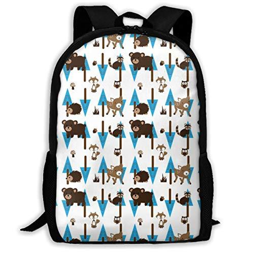 Forest_Fabric4 Blue Boy Bear Kiefern Waschbär Bär Hirsch Fox_2731 Klassischer Rucksack Reise Laptop Rucksack, College School Student Rucksack für Männer und Frauen