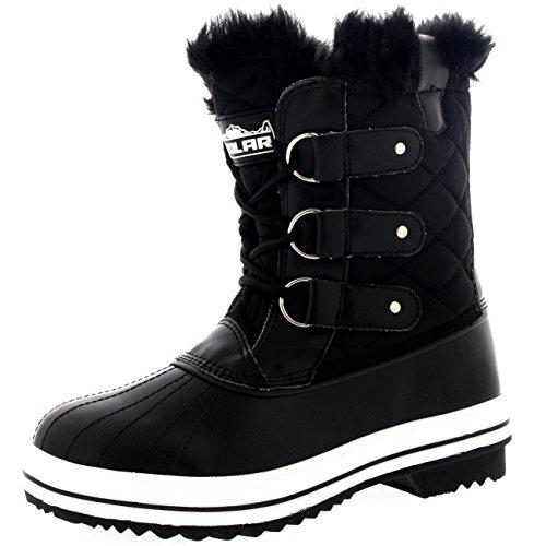 Damen Schnee Stiefel Nylon Short Schnee Pelz Regen Wasserdicht Stiefel - Schwarz - 37 - CD0030 Schnee Pelz Stiefel Für Frauen