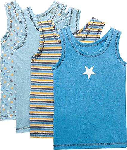 Kinderbutt Unterhemd 4er-Pack mit Druckmotiv blau-gelb-bunt Größe 86/92