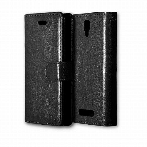 Custodia Lenovo A1000 Cover Case, Ougger Portafoglio PU Pelle Magnetico Stand Morbido Silicone Flip Bumper Protettivo Gomma Shell Borsa Custodie con Slot per Schede Colore Nero Nero