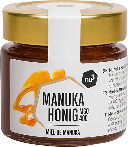 nu3 Manuka Honig MGO 400 -natürlicher Honig aus Neuseeland-125g im Glas mit einem Methylglyoxal-Gehalt (MGO) von mindestens 400 mg/kg -schonend kaltgeschleudert – frei von Zusatzstoffen, 100% pur