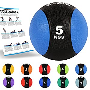 MSPORTS Medizinball 5 kg - Professionelle Studio-Qualität inkl. Übungsposter...