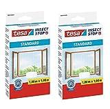tesa Insect Stop Standard Fliegengitter für Fenster - Zuschneidbares Moskitonetz - Mückenschutz ohne Bohren - Fliegen Netz (Weiß (Leichter Sichtschutz), 1m:1m / 2er Pack)