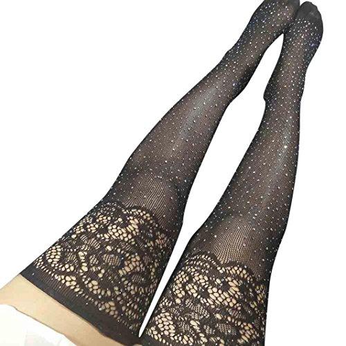 Zarupeng Damen Strumpfhose mit Elasthan, Frauen Strümpfe Oberschenkel Hohe Knie Socken Strumpfband mit einem kleinen Mesh Bohrgerät Socken (One Size, Schwarz) (Herren-knie Hoch Socken Kleid)