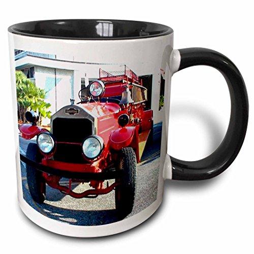 3dRose Mug_594_4 Old Fire Truck, Black Becher, schwarz/weiß Fire Tee Teller