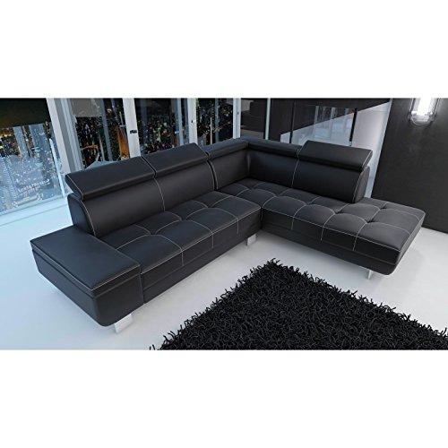 tendencio Canapé d'angle Moderne et Design Daylon en Simili Cuir Noir