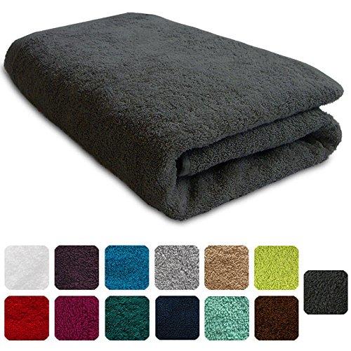 Lanudo® Luxus Duschtuch 600g/m² Pure Line 70x140 mit Bordüre. 100% feinste Frottier Baumwolle in höchster Qualität, Dusch-Handtuch, Badetuch, Badelaken. Farbe: Dunkelgrau/Anthrazit