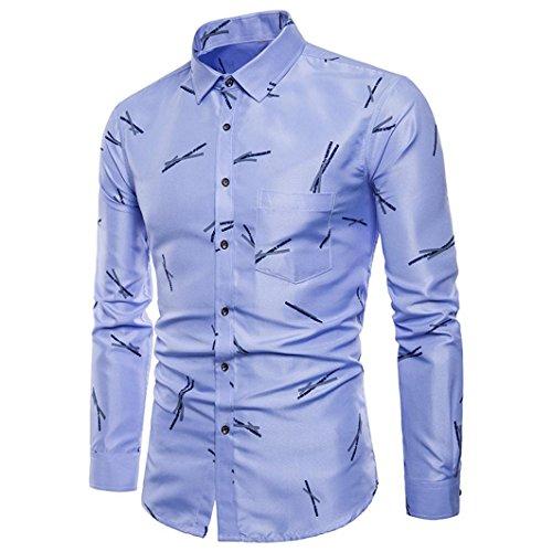 SEWORLD 2018 Herren Herbst Winter Hemd Drucken Oxford Formelle Langarmhemd Suits Slim Fit T-Shirt Hemden Oberteil Oktoberfest (Blau,EU-52/CN-3XL)