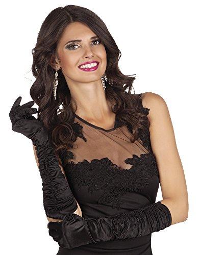 Satin Schwarz für Damen ca. 40 cm - Toll zum Show Girl Charleston oder Diva Kostüm für Damen (Sexy Hollywood Kostüme)