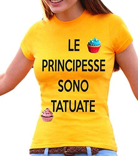 t-shirt donna frasi humor - Le principesse sono tatuate - S M L XL XXL maglietta by tshirteria giallo