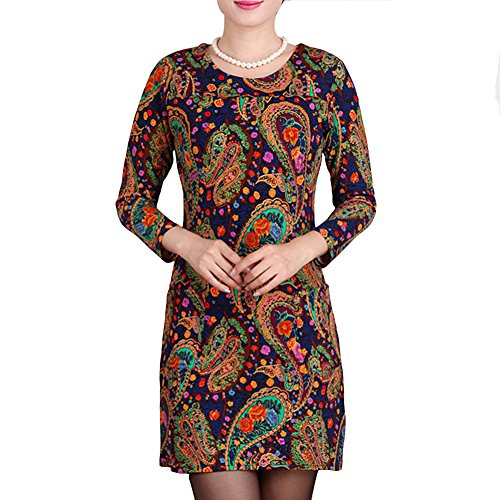 Damen Mini kleid Kurze Rundhals 3/4 Ärmel Stretch Casual Kleider Blumenmuster Sommerkleid Printkleider Orange Lila