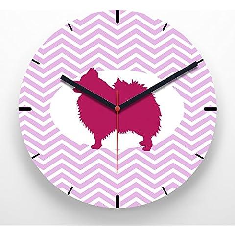 Reloj de pared 30 cm con ilustración estampado zigzag rosa perro Pomerania