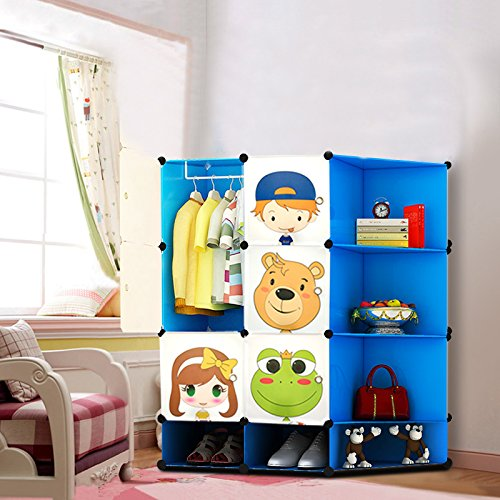 NEW Kids Wardrobe Childrens Storage Cabinet Boxes Character Design Shoes Storage Corner Storage Cubes Pink Green Blue (Blue)