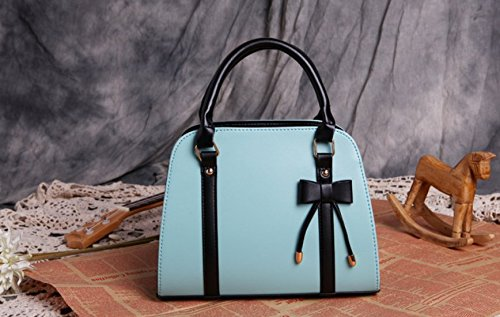 m.g.d donne Vintage NUOVA Lady Borse Hobo Bag borsa con fiocco in pelle borsa a tracolla Messenger Bag Lake Blue
