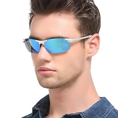 Polarized Sports Sunglasses Unbreakable Flexible Super Lightweight 16.4g (0.6oz) Men Women Outdoor Sports Glasses 8530 (Silver/Blue)