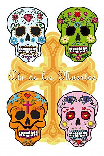 1art1 82345 Totenköpfe - Mexikanische Totenschädel, Calaveras Selbstklebende Fototapete Poster-Tapete 180 x 120 cm
