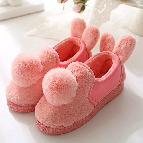 DogHaccd pantofole,Le coppie home cotone pantofole pantofole uomini di spessore caldo inverno pacchetto con grazioso pantofole di peluche Il rosso3