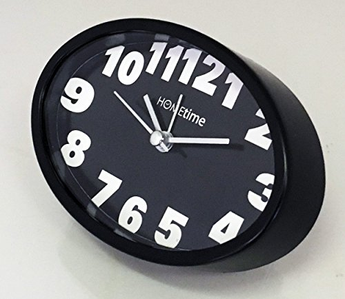 Reloj despertador de estilo vintage retro con forma ovalada, color negro, ideal para dormitorio y mesilla de noche