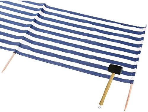 Idena Windschutz für Strand Camping und Garten (8m Blau | Weiss + Gummihammer)