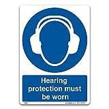 3 Signs Gehörschutz zu tragen, Schild–selbstklebend Vinyl–Pflicht Sicherheit Kleidung Schutzbekleidung, Selbstklebendes Vinyl, A4 297x210mm