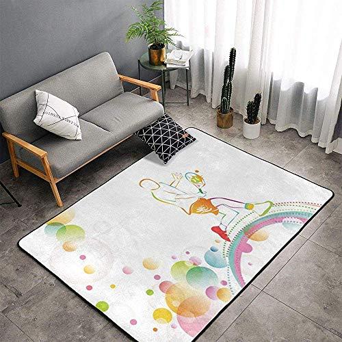 URIAS area rugs Indoor Soft Floor Teppiche Fluffy Carpets Tennis Ball Rainbow Geeignet für Schlafzimmer, Büro, Couchtisch, Balkon Home Decor Teppiche
