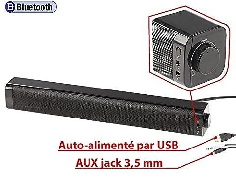 Barre de son stéréo USB 10 W filaire et Bluetooth