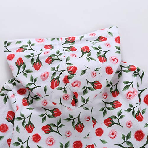 MHC~KJ Newborn Infant Kids Baby Girls Floral Hooded Zipper Long Sleeve Romper Jumpsuit Red Image 8