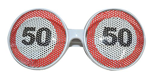 Mann Serviette Kostüm (Halloweenia - Kostüm Brille - 50. Geburtstag Partybrille mit Zahl,)