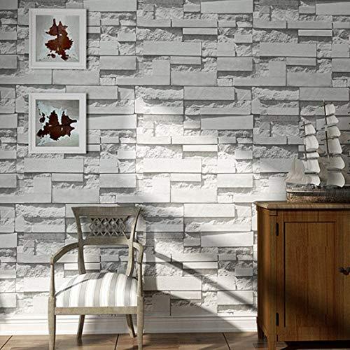 antik grau weiß geprägte Ziegel Effekt Tapete Nachahmung Ziegel Muster Wand Poster Wandaufkleber Home Office Dekoration, 300 * 210cm ()