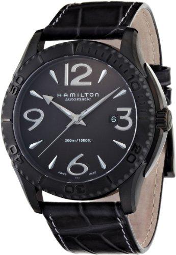 Hamilton H37785685 – Reloj analógico de caballero automático con correa de piel negra