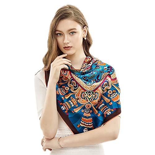 Kultur Kostüm Nicht Ein Stars - Xyuluy Silk quadratischer Schal, chinesische Elegante Luxusart, Arbeitsbankett-Spielraum-Dekorations-Silk Schal, 110 * 110CM,Blau