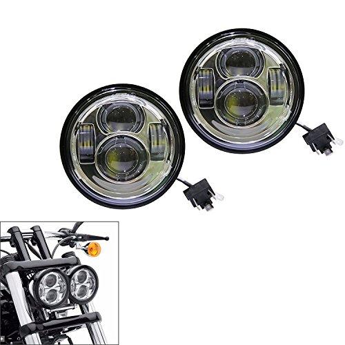 """Preisvergleich Produktbild Wisamic 2 x 5 """"Dual Daymaker LED-Scheinwerfer für 08-15 Harley Davidson Fat Bob FXDF (schwarz)"""