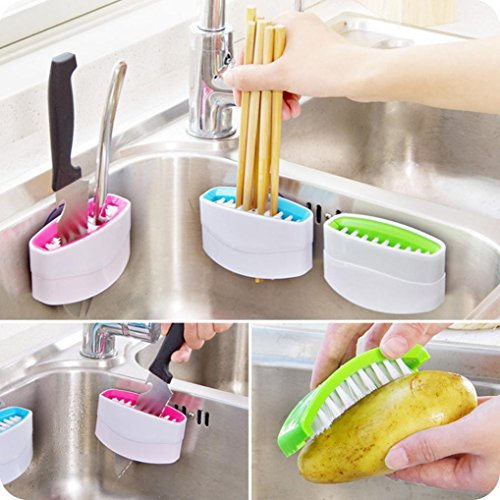 Kitchen Cleaner Brush ! Xshuai® Multifunction Chopsticks Brush Fruit Cleaning Brush +Suction Cup for Cleaning Tableware and Cutlery&Washing Fruits and Vegetables11 x 6cm (Random)