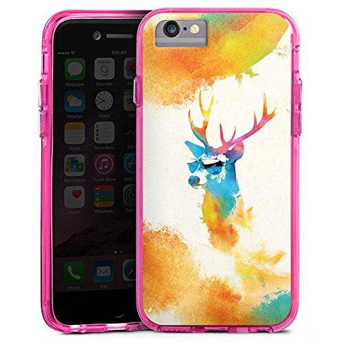 Apple iPhone X Bumper Hülle Bumper Case Glitzer Hülle Hipster Hirsch Deer Bumper Case transparent pink
