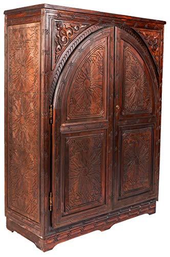 Orientalische Kommode Sideboard Elmedino 131cm Braun | Orient Vintage Kommodenschrank orientalisch Handverziert | Indische Landhaus Anrichte aus Holz | Asiatische Möbel aus Indien