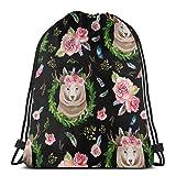 vintage cap 6 Rocky Mountain Floral Bear - Black_9649 3D Print Drawstring Backpack Rucksack Shoulder Bags Gym Bag for Adult 16.9