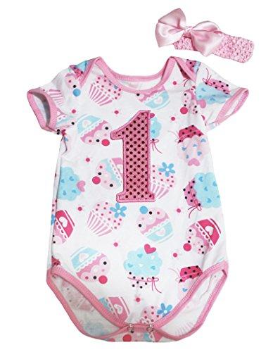 Halloween Kostüme Geburtstag Cupcake (Petitebelle Birthday Bling 1st Cupcakes Pink Cotton Bodysuit Romper Set Nb-18m(12-18)